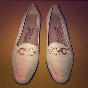 Salvatore Ferragamo Vintage White Leather Loafers
